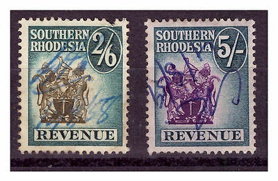 Southern Rhodesia Revenue Stamps 2/6 & 5/-. Used.  #980