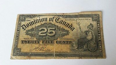 RR 1900 Dominion of Canada 25 Cents banknote