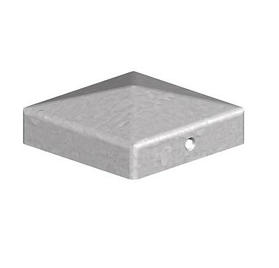 "Pyramid Square Galvanised Metal Fence Post Caps - 3"" 75mm Post Top"