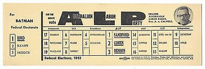 How To Vote card AUSTRALIAN LABOR PARTY 1960s BATMAN & Senate