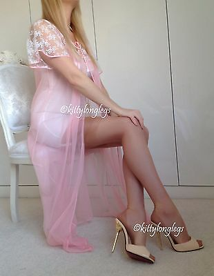 Vintage Candy Pink Glass Nylon & Lace Gown Robe Peignoir size 16