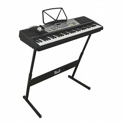 Digital Electronic Piano Keyboard Kit NJS800 61 Key With Stand Headphone & Mic