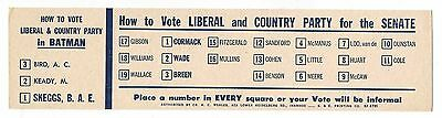 How To Vote card LIBERAL & COUNTRY PARTY 1960s BATMAN & Senate