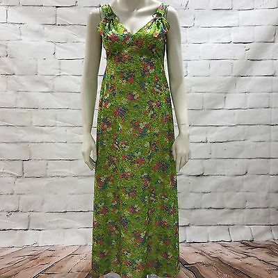 UNBRANDED Vintage Retro 60s Floral Bright Green Pink Maxi Dress Size UK 10 A4757
