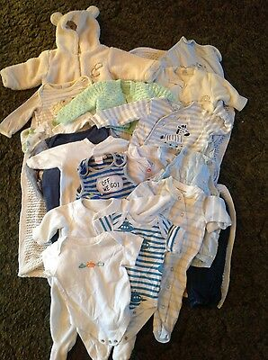 bundle of baby boys clothes including snowsuit and sleeping bag 0-3 months