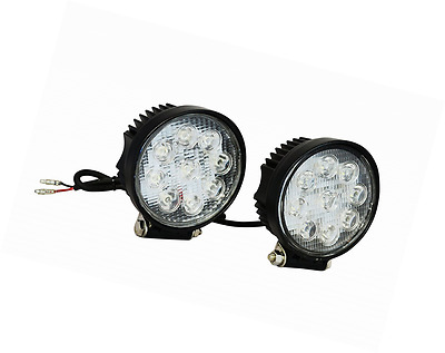Round Black Universal Fit Super Bright 27w Led Spotlights For Motorcycle Motorbi