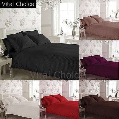Luxury Satin Stripe Duvet Cover With Pillow Cases Bedding Set Pillow Cover