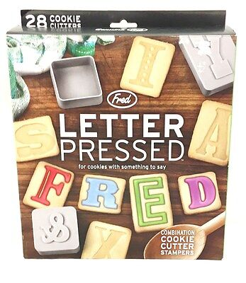 Fred Letter Pressed Alphabet Cookie Cutters & Stamps Baking Kitchen Cooking Set