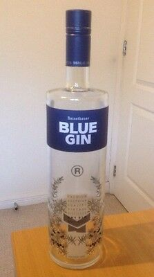 Empty Blue Gin Bottle 100cl (Austrian) - suitable for upcycling, hobbies, craft