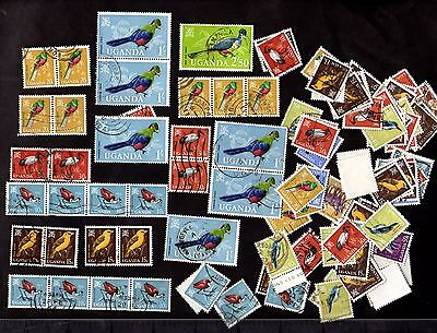Stamps ~ UGANDA BIRDS ISSUE Used ~ Mixed Unsorted