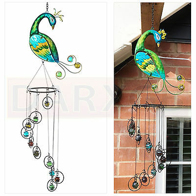 NEW Lovely Bright Peacock and Windchime with Glass Beads Catch Sun Decoration