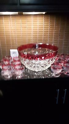 Crystal Punch Bowl set with Red Flash