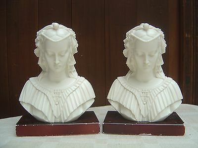Beautiful Vintage Pair Of Faux Marble Busts / Bookends - Renaissance Lady