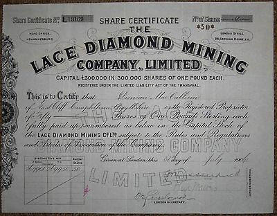SOUTH AFRICAN CERTIFICATE FOR SHARES IN LACE DIAMOND MINING Co Ltd