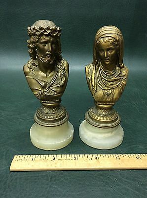 Antique Bronze Miniature Bust Statues on Marble Base Jesus Christ and Saint Mary