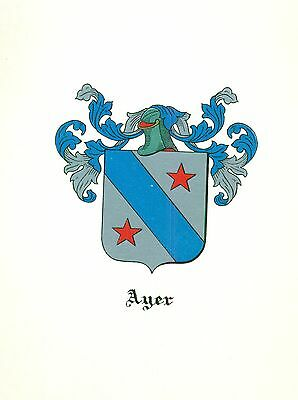 *Great Coat of Arms Ayer Family Crest genealogy, would look great framed!