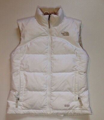 The North Face Girls White Goose Insulated 600 Puffer Vest Jacket Size Medium
