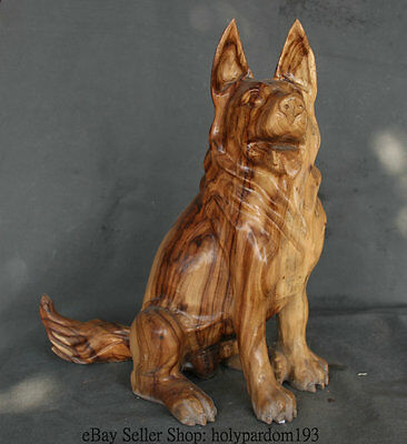 """18"""" Chinese Natural Camphor Wood Carving Wolf Dog Police Commemorate Sculpture"""