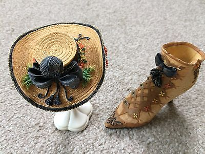 Just the Right Shoe with Matching Hat and Stand Gold Deluxe 1894