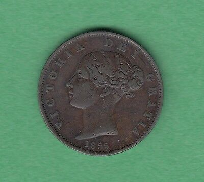 1855 Great Britain 1/2 Penny Coin - Queen Victoria - VF