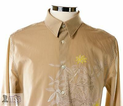 DKNY Men Light Brown Pinstripe Floral Dress Shirt Fitted Slim sz L Painted £140