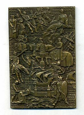 Légendes de France – Paris - French bronze plaque by R. Delamarre