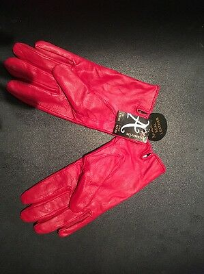 New Red Leather Gloves S/M