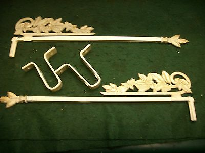 OLD-VINTAGE-ANTIQUE Art Deco Cast Metal  Swing Arm Extending Curtain Rods