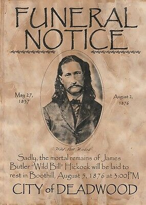 Bill Hickock~(I Combine Shipping)~Old West,wanted,poster,deadwood,marshall