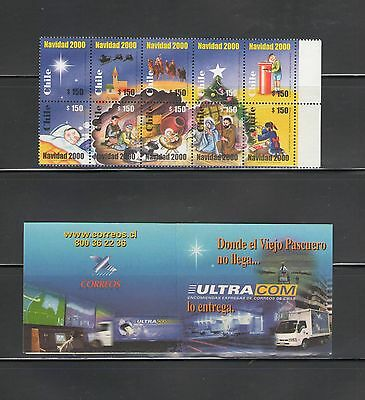 CHILE: 1350-51 / Beautiful **CHRISTMAS**  / Block of 10 & Booklet of 10 MNH