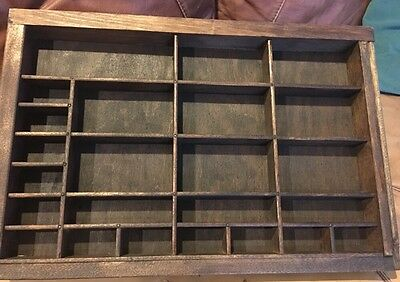 Antique PRINTERS TYPE CASE Or DRAWER End Section Wood Stained