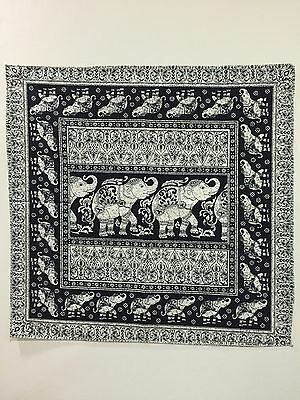 Elephant Handkerchief Cotton Head Wrap Big Bike Scarf Black White Print Vintage