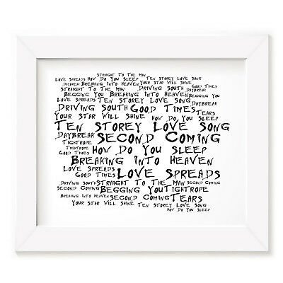 `Noir Paranoiac` THE STONE ROSES Art Print Typography Album Lyrics Signed Poster