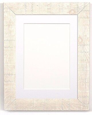 Shabby Chic Rustic Wood Grain Picture Frame Photo Frame WHITE With Bespoke Mount