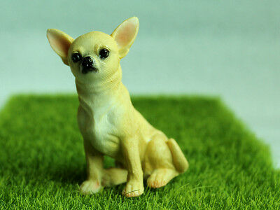 Cute Chihuahua Dog Miniature Figurines Animal  Vintage Dog Statue Collect