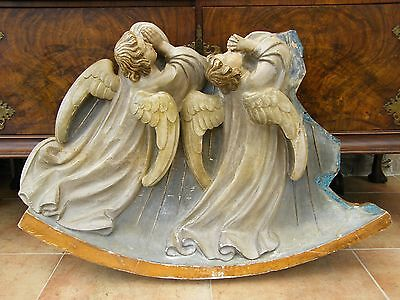 Antique-Large Hand Painted Carved Wooden Angels With Wings-From Church-c1860's
