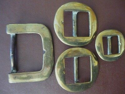 Antique Collection of Solid Brass Belt Buckles