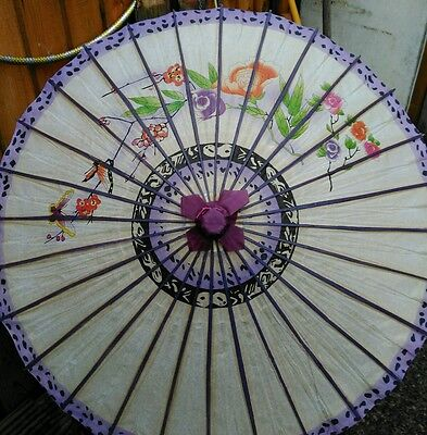 Purpel FLOWER WHITE PAPER PARASOL CHINESE FANCY PARTY UMBRELLA PARTY - full size