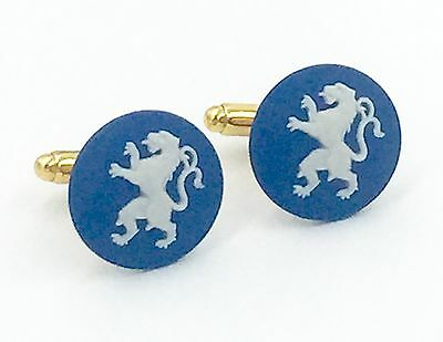 Authentic Wedgwood Blue Jasperware w/White Cameos - Gold Plate Cufflinks, 20mm