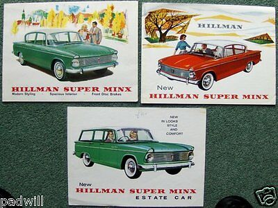 3X Hillman Rootes Super Minx Saloon & Estate Car Uk & Export Sales Brochures