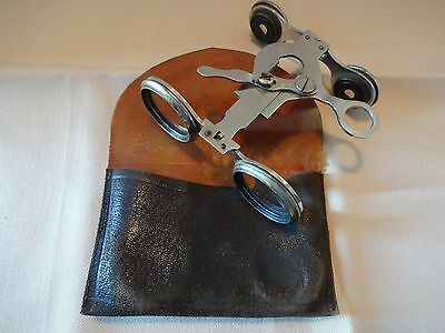 Antique Folding Nickle Plate Opera Glasses, C.1900 With Leather Case