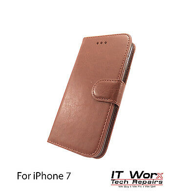 Luxury Magnetic Leather Flip Wallet Case Cover Stand For Apple iPhone 7 - Brown