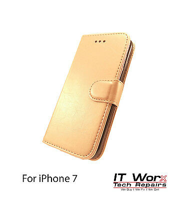 Luxury Magnetic Leather Flip Wallet Case Cover Stand For Apple iPhone 7 - Gold
