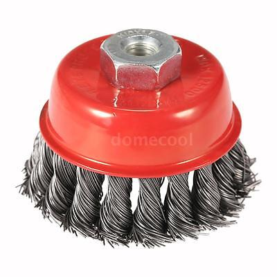 "75mm 3"" Steel Wire Wheel Knotted Cup Brush Rotary Steel Brush Crimp Grinder U3W5"