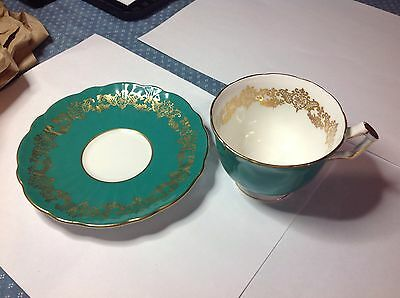 Ansley cup &sauccer  Dark Green Gold Band & Trim