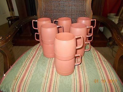 Lot 12 Vintage Mauve Classic Dinex Stackable Insulated Coffee Cup / Mug  #1197