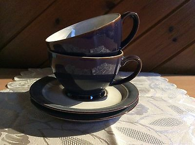 Denby Storm 2 Breakfast Cups and Saucers