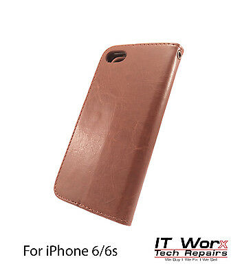 Luxury Magnetic Leather Flip Wallet Case Cover Stand For Apple iPhone 6 -Brown
