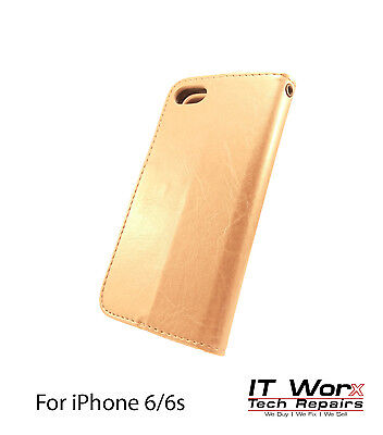Luxury Magnetic Leather Flip Wallet Case Cover Stand For Apple iPhone 6 - Gold