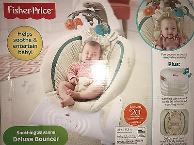 Fisher Price Soothing Savanna Deluxe Bouncer For Sleeping/Entertaining